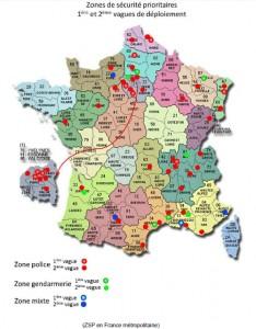 Carte nationale des zones de sécurité prioritaire