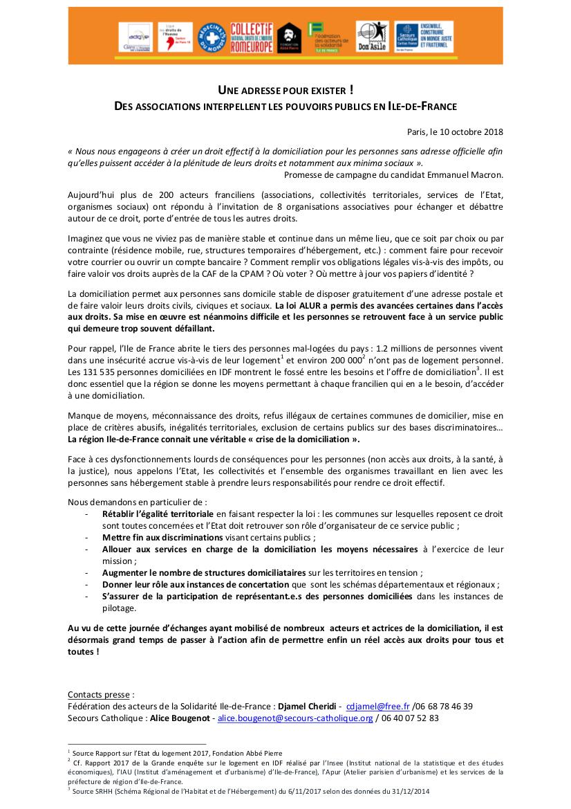 CP journée régionale domiciliation 10-10-18