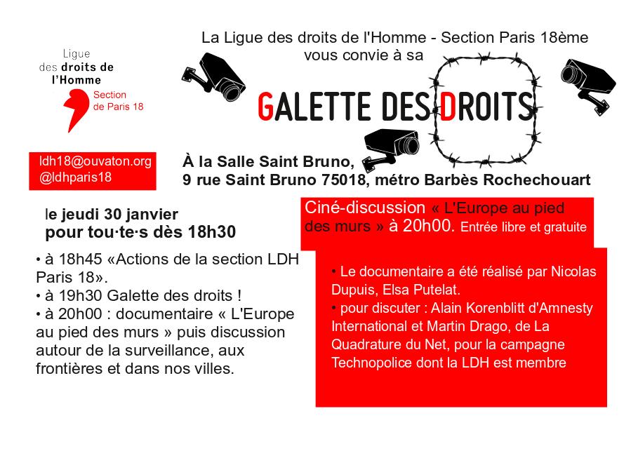 Galette des droits sous surveillance, une invitation de la LDH Paris 18 a assisté à une soirée autour de la surveillance numérique à la Salle Saint Bruno le 30 janvier