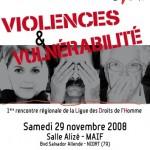 Affiche Violences et vulnérabilités